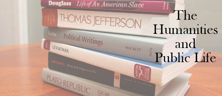 "Photo of a stack of philosophy and history books with ""The Humanities and Public Life"" superimposed over them"