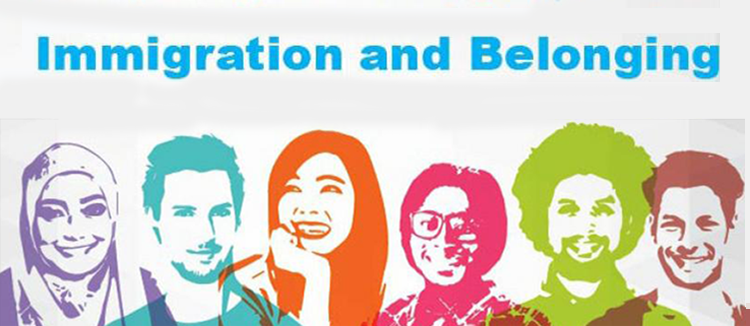 "Silhouettes of diverse group of young people beneath headline ""immigration and belonging"""