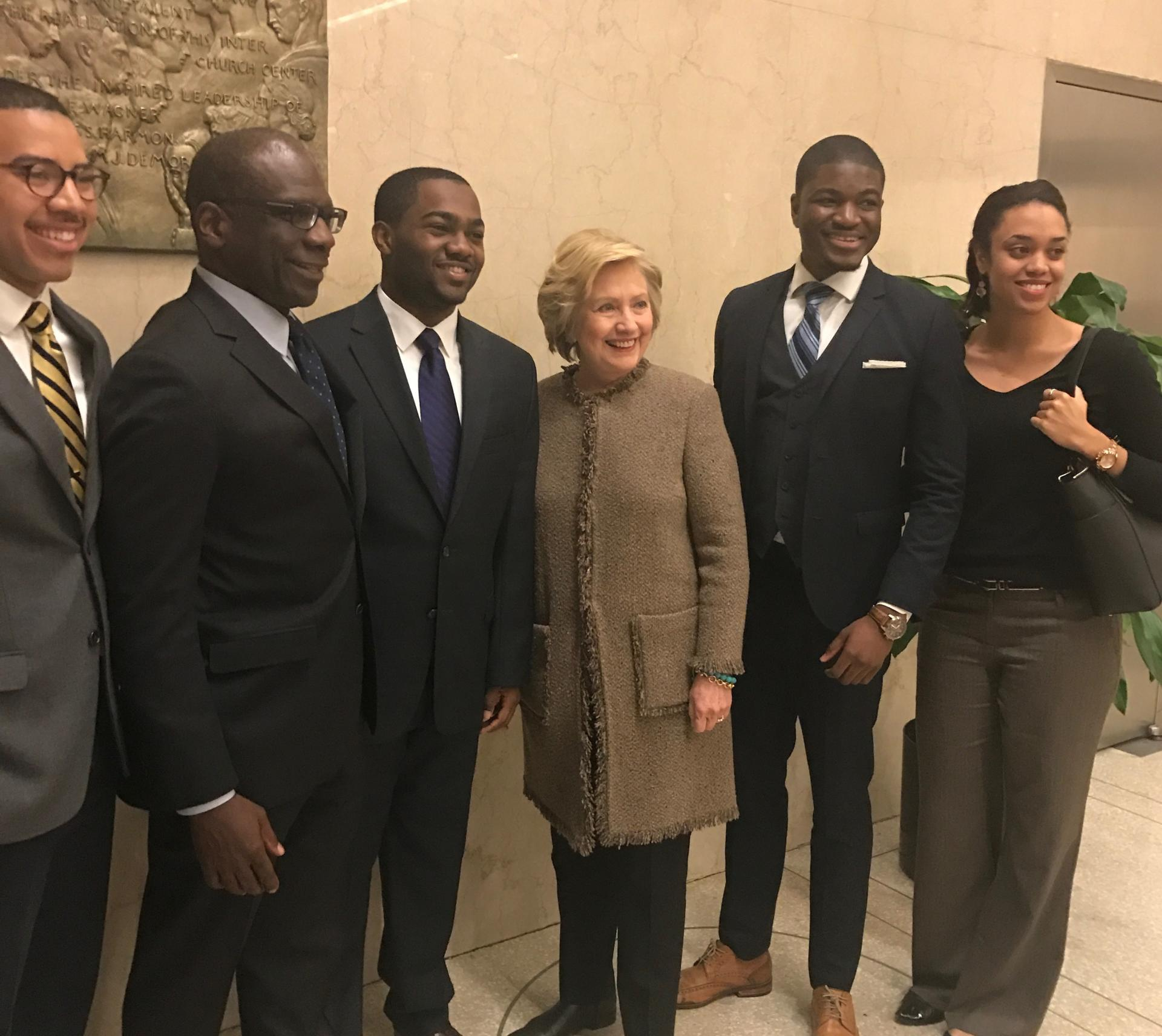 Students with Hillary Clinton